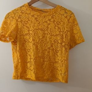 Cropped yellow/orange lace top